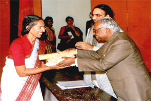 Chairperson being awarded national award for upliftment of blind by honorable Vice president Mr. K.R. Narayanan in New Delhi.