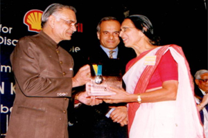 Speaker of parliament Mr. Shivraj patil awarding prestigious Hellen Keller award to Chair person Ms.Sushila Bohra in New Delhi.