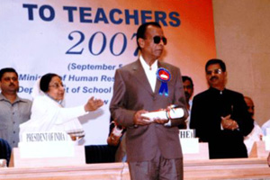 Mr.Naresh Jain Principal of School taking National Teachers Award 2007 from President of India Mrs.Pratibha Patil in New-Delhi on 5th Sep 2008.