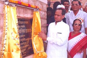 Mr.Ashok Gehlot ,Chief Minister of Rajasthan inaugurating Girls Hostel building.